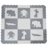 "Clevr Grey XLARGE 1/2"" Thick Interlocking EVA Foam Mat for Kids Baby Play Mats, 78"" X 78,  41 Sqft, 9 pcs, Safari Animal (CL_CRS601202) - Alt Image 1"