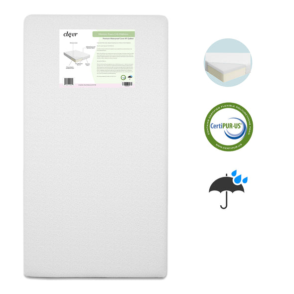 Clevr White Waterproof Baby & Toddler Bamboo Fabric Memory Foam Crib Mattress (CL_CRS601301) - Main Image