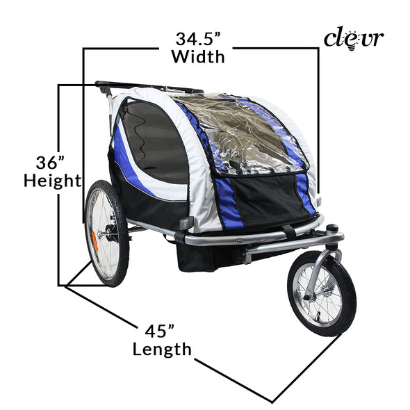 Clevr Deluxe 3-in-1 Double Seat Bike Trailer Stroller Jogger for Child Kids, Blue (CL_CRS802605) - Alt Image 4