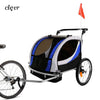 Clevr Deluxe 3-in-1 Double Seat Bike Trailer Stroller Jogger for Child Kids, Blue (CL_CRS802605) - Alt Image 1