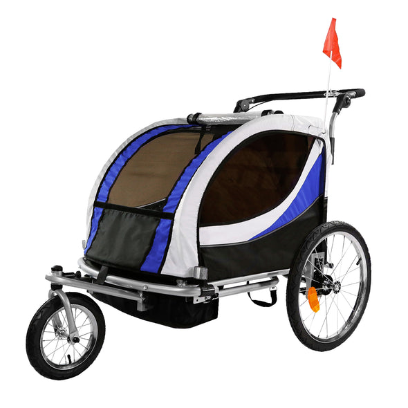 Clevr Deluxe 3-in-1 Double Seat Bike Trailer Stroller Jogger for Child Kids, Blue (CL_CRS802605) - Main Image