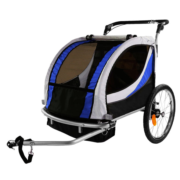 Clevr Deluxe 3-in-1 Double Seat Bike Trailer Stroller Jogger for Child Kids, Blue (CL_CRS802605) - Alt Image 7