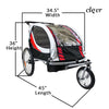 Clevr Deluxe 3-in-1 Double Seat Bike Trailer Stroller Jogger for Child Kids, Red (CL_CRS802606) - Alt Image 4
