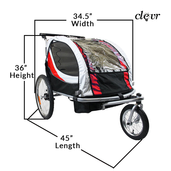 ClevrPlus Clevr Deluxe 3-in-1 Double Seat Bike Trailer Stroller Jogger for Child Kids, Red (CL_CRS802606) - Alt Image 4