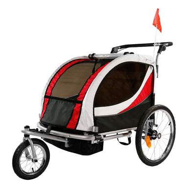 [product_tag] , Clevr Deluxe 3-in-1 Double Seat Bike Trailer Stroller Jogger for Child Kids, Red - Crosslinks