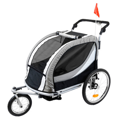 [product_tag] , Clevr Deluxe 3-in-1 Double Seat Bike Trailer Stroller Jogger for Child Kids, Grey - Crosslinks