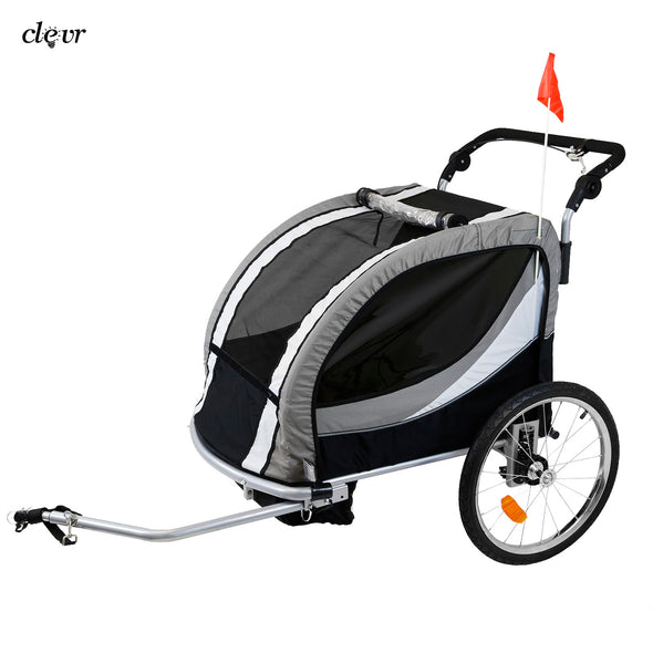 Clevr Deluxe 3-in-1 Double Seat Bike Trailer Stroller Jogger for Child Kids, Grey (CL_CRS802608) - Alt Image 7