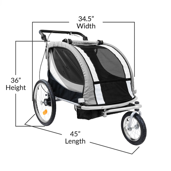 Clevr Deluxe 3-in-1 Double Seat Bike Trailer Stroller Jogger for Child Kids, Grey (CL_CRS802608) - Alt Image 4