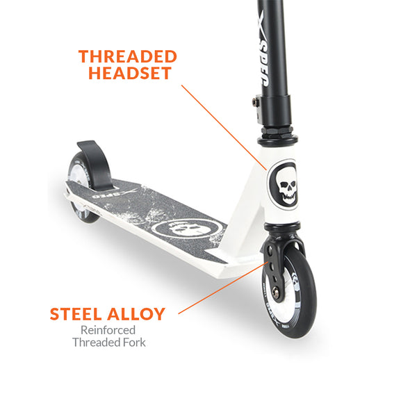 Xspec Pro Stunt Kick Scooter with Strong Aluminum Deck, White & Black with Skulls (CL_CRS803911) - Alt Image 3