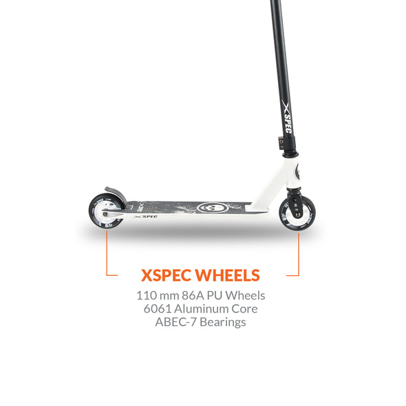 Xspec Pro Stunt Kick Scooter with Strong Aluminum Deck, White & Black with Skulls (CL_CRS803911) - Alt Image 2