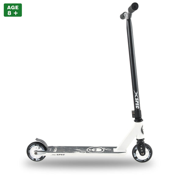 Xspec Pro Stunt Kick Scooter with Strong Aluminum Deck, White & Black with Skulls (CL_CRS803911) - Alt Image 1