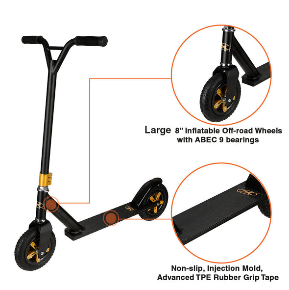 Xspec Aluminum Offroad Stunt Dirt Kick Scooter All Terrain Mountain, Black Gold (CL_CRS803933) - Alt Image 1