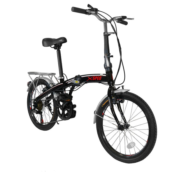 "Xspec 20"" 7 Speed Folding Compact City Commuter Bike, Black (CL_CRS804601) - Main Image"