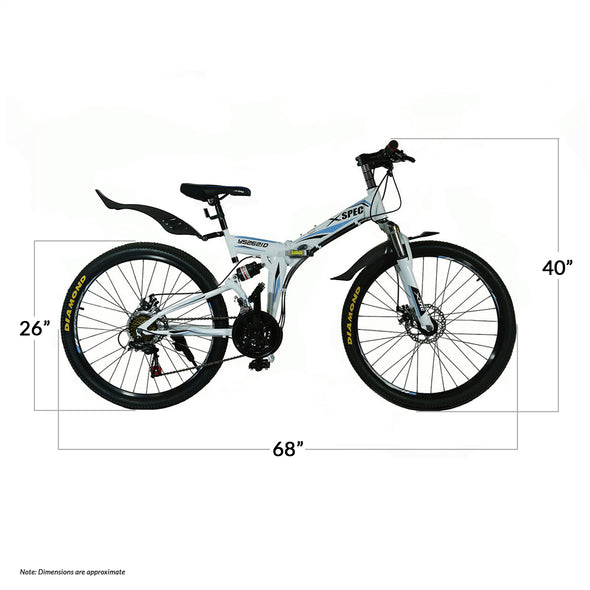 "Xspec 21 Speed 26"" Shimano Folding Mountain Bike, White (CL_CRS804605) - Alt Image 1"