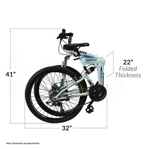 "Xspec 21 Speed 26"" Shimano Folding Mountain Bike, White (CL_CRS804605) - Alt Image 2"