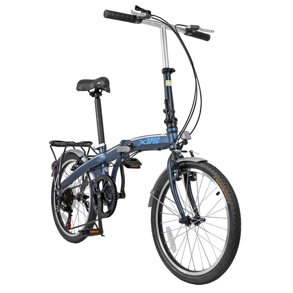 "Xspec 20"" 7 Speed City Folding Mini Compact Bike Bicycle Commuter, Gunmetal Blue (CL_CRS804607) - Alt Image 5"