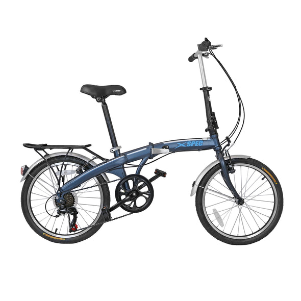 "Xspec 20"" 7 Speed City Folding Mini Compact Bike Bicycle Commuter, Gunmetal Blue (CL_CRS804607) - Alt Image 1"