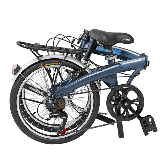 "Xspec 20"" 7 Speed City Folding Mini Compact Bike Bicycle Commuter, Gunmetal Blue (CL_CRS804607) - Alt Image 6"