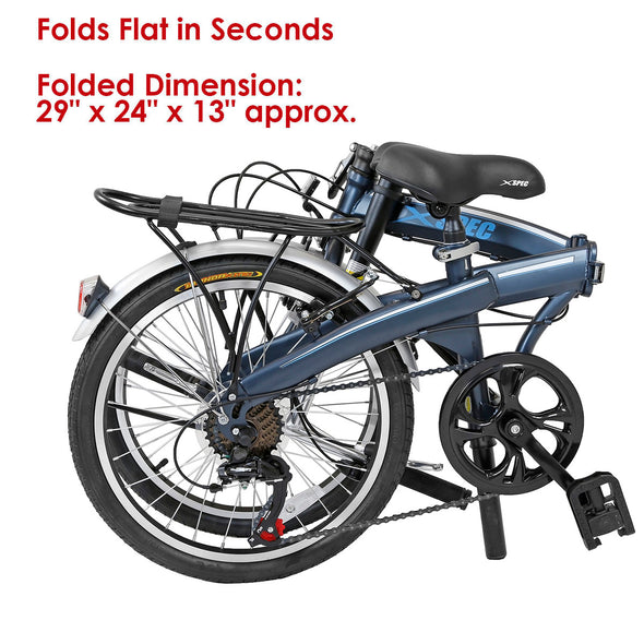 "Xspec 20"" 7 Speed City Folding Mini Compact Bike Bicycle Commuter, Gunmetal Blue (CL_CRS804607) - Alt Image 2"