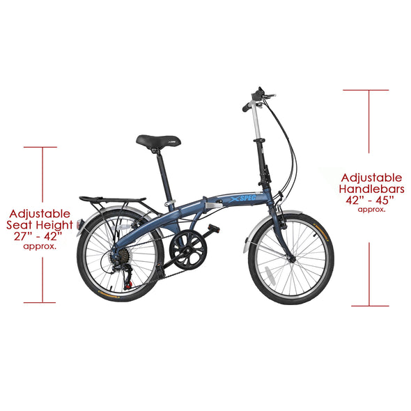 "Xspec 20"" 7 Speed City Folding Mini Compact Bike Bicycle Commuter, Gunmetal Blue (CL_CRS804607) - Alt Image 3"