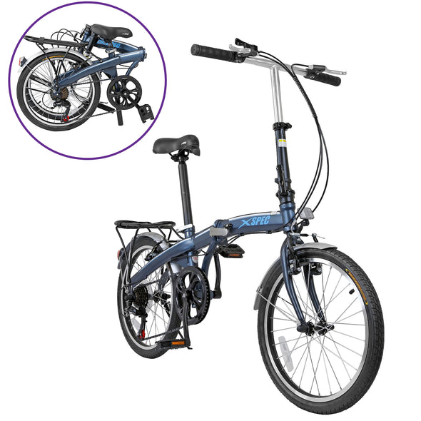 "Xspec 20"" 7 Speed City Folding Mini Compact Bike Bicycle Commuter, Gunmetal Blue (CL_CRS804607) - Main Image"