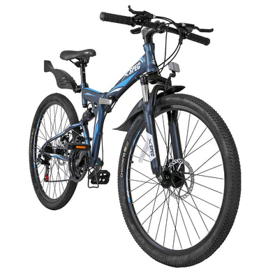 Xspec 26'' Gunmetal Blue 21 Speed Folding Mountain Bike (CL_CRS804608) - Main Image