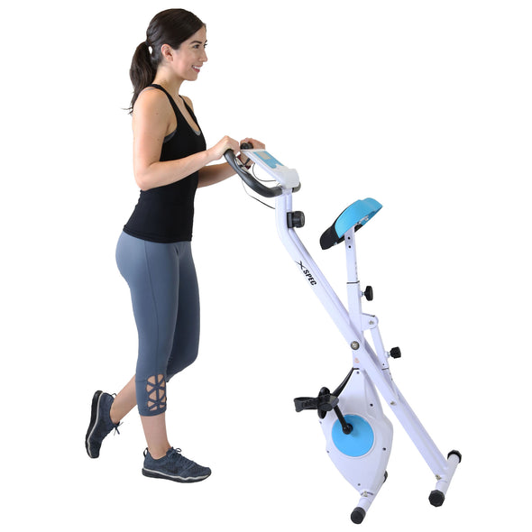 Xspec Foldable Stationary Upright Exercise Folding Workout Indoor Cycling Bike, Blue (CL_CRS804702) - Alt Image 2