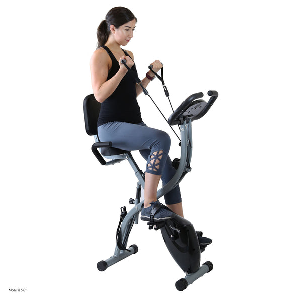 Xspec Recumbent Upright Foldable Exercise Bike with Resistance Bands, Black (CL_CRS804704) - Alt Image 1