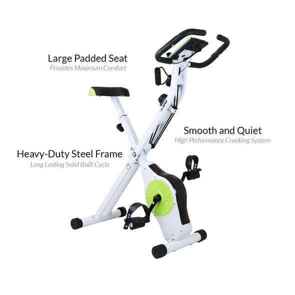 Xspec Indoor Foldable Stationary Upright Exercise Cardio Workout Cycling Bike with Arm Resistance Bands, Lime (CL_CRS804705) - Alt Image 6