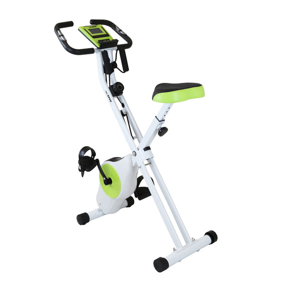 Xspec Indoor Foldable Stationary Upright Exercise Cardio Workout Cycling Bike with Arm Resistance Bands, Lime (CL_CRS804705) - Main Image