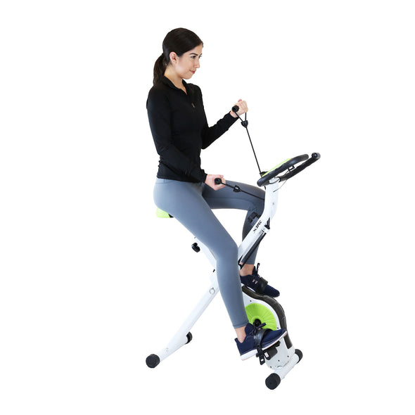 Xspec Indoor Foldable Stationary Upright Exercise Cardio Workout Cycling Bike with Arm Resistance Bands, Lime (CL_CRS804705) - Alt Image 1