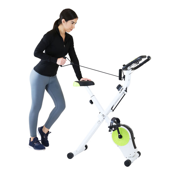 Xspec Indoor Foldable Stationary Upright Exercise Cardio Workout Cycling Bike with Arm Resistance Bands, Lime (CL_CRS804705) - Alt Image 2
