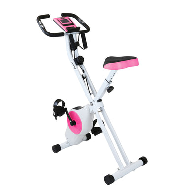 Xspec Foldable Stationary Upright Indoor Exercise Cardio Cycling Bike with Resistance Bands, Pink (CL_CRS804706) - Main Image