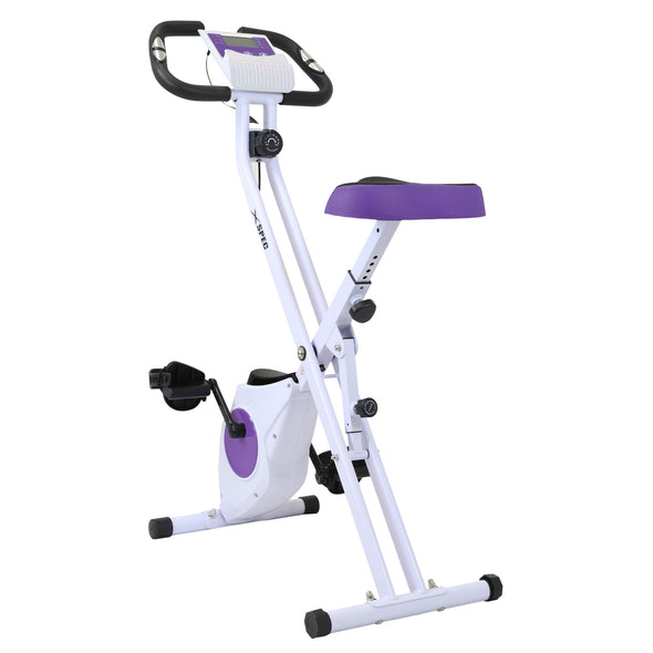 Xspec Foldable Stationary Upright Exercise Folding Workout Indoor Cycling Bike, Purple (CL_CRS804708) - Main Image