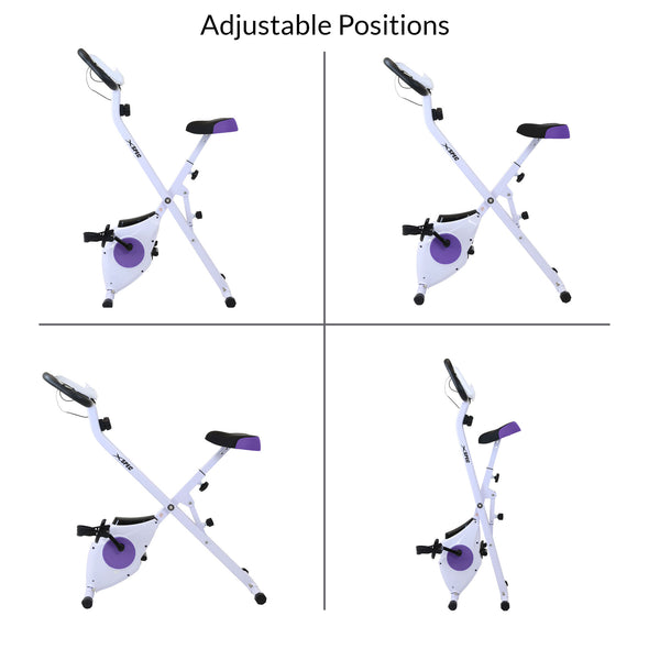 Xspec Foldable Stationary Upright Exercise Folding Workout Indoor Cycling Bike, Purple (CL_CRS804708) - Alt Image 6