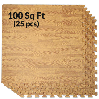 Clevr Light Wood Grain Interlocking EVA Foam Floor Mats (100 Sq. Ft. - 25 pcs) (CL_CRS804909) - Main Image