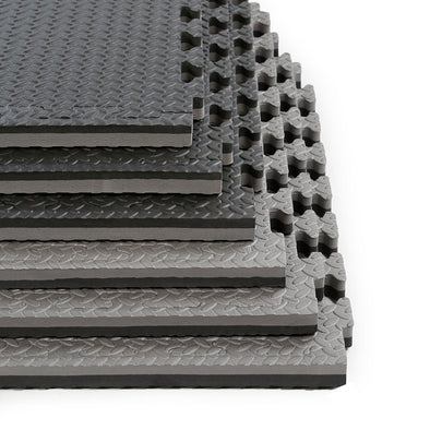 "Clevr Black/Gray 1"" Extra Thick Interlocking EVA Foam Floor Mats (48 Sq. Ft. - 12pcs) (CL_CRS804913) - Main Image"