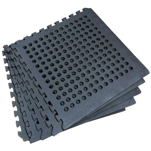 Clevr Black Interlocking EVA Foam Mats Mat w/ drain holes (96 Sq. Ft. - 24 pcs) (CL_CRS804917) - Alt Image 5