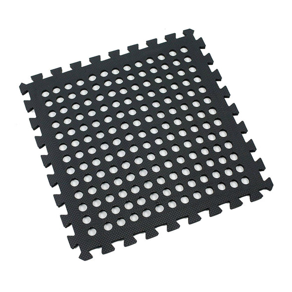 Clevr Black Interlocking EVA Foam Mats Mat w/ drain holes (96 Sq. Ft. - 24 pcs) (CL_CRS804917) - Alt Image 7