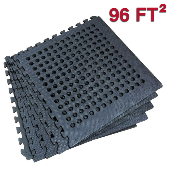 Clevr Black Interlocking EVA Foam Mats Mat w/ drain holes (96 Sq. Ft. - 24 pcs) (CL_CRS804917) - Alt Image 1