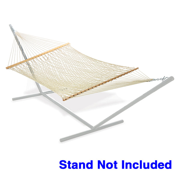 Clevr 2 Person Cotton Rope Double Wide Hammock with Solid Wood Spreaders (CL_CRS805005) - Alt Image 1