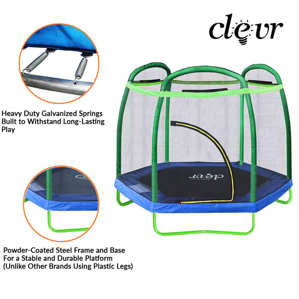 Clevr 7 Ft. Trampoline Bounce Jump Safety Enclosure Net W/ Spring Pad Round (CL_CRS805404) - Alt Image 2