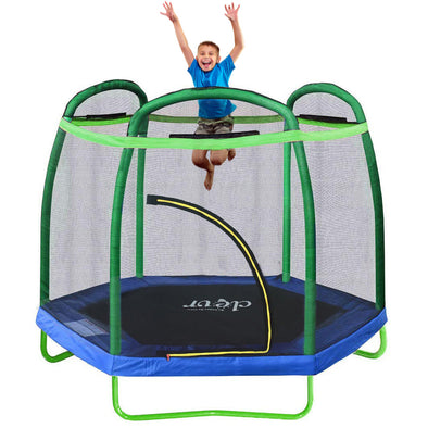 Clevr 7 Ft. Trampoline Bounce Jump Safety Enclosure Net W/ Spring Pad Round (CL_CRS805404) - Main Image