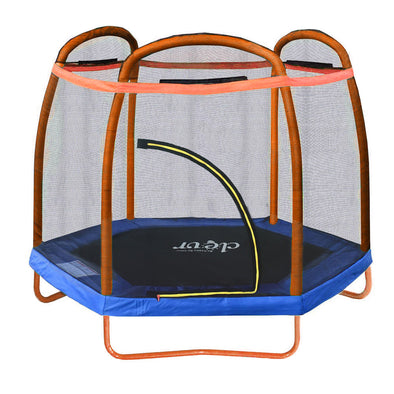 Clevr 7 Ft. Trampoline Bounce Jump Safety Enclosure Net W/ Spring Pad Orange (CL_CRS805406) - Main Image