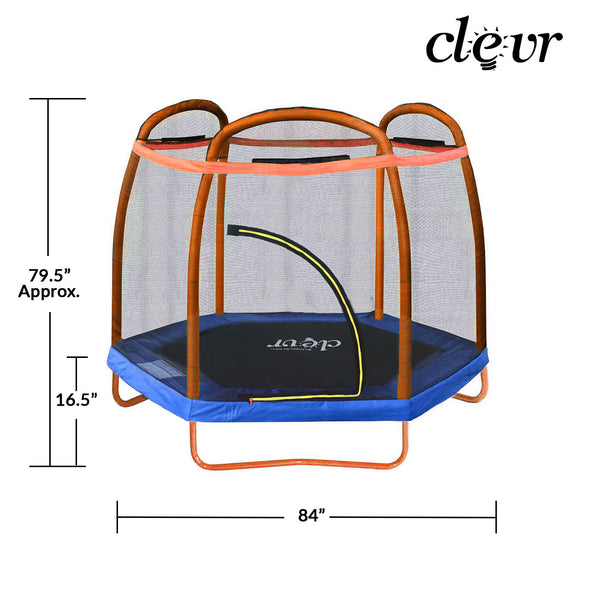 Clevr 7 Ft. Trampoline Bounce Jump Safety Enclosure Net W/ Spring Pad Orange (CL_CRS805406) - Alt Image 2