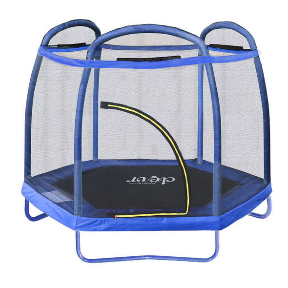 Clevr 7 Ft. Trampoline Bounce Jump Safety Enclosure Net W/ Spring Pad Blue (CL_CRS805407) - Alt Image 1