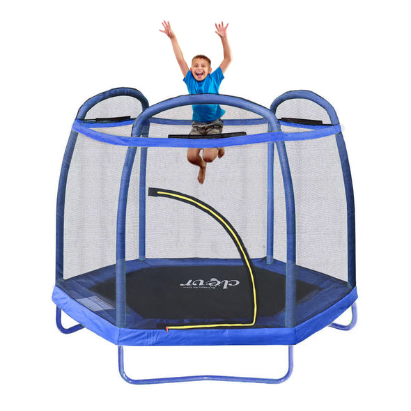 Clevr 7 Ft. Trampoline Bounce Jump Safety Enclosure Net W/ Spring Pad Blue (CL_CRS805407) - Alt Image 6
