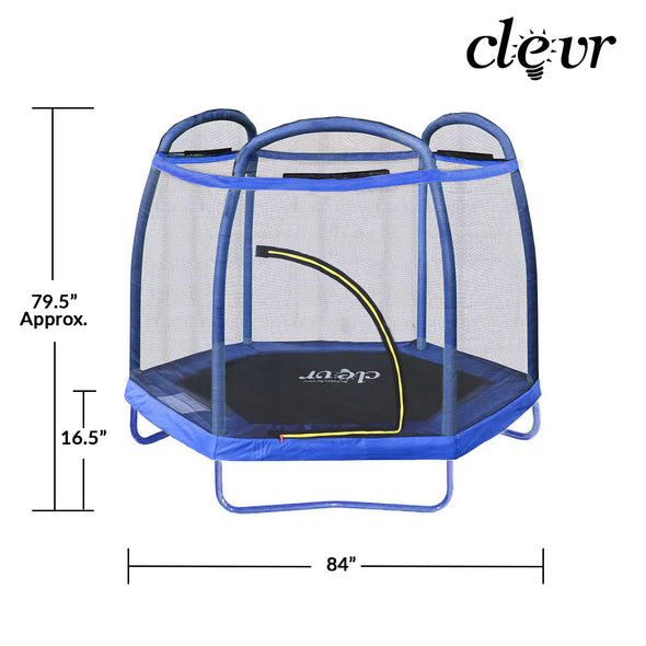 Clevr 7 Ft. Trampoline Bounce Jump Safety Enclosure Net W/ Spring Pad Blue (CL_CRS805407) - Alt Image 3