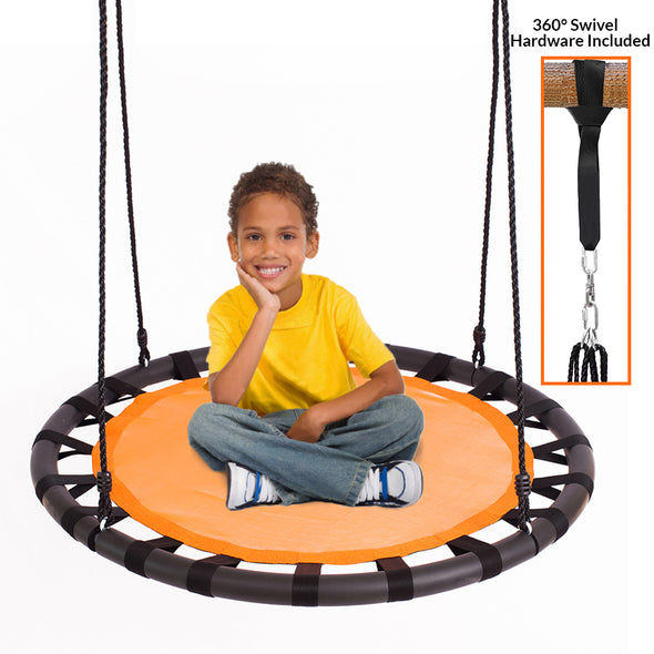 "[product_tag] , Clevr 40"" Tree Net Web Saucer Round Teslin Swing, Adjustable 71"" Height Rope,  Orange & Black - Crosslinks"