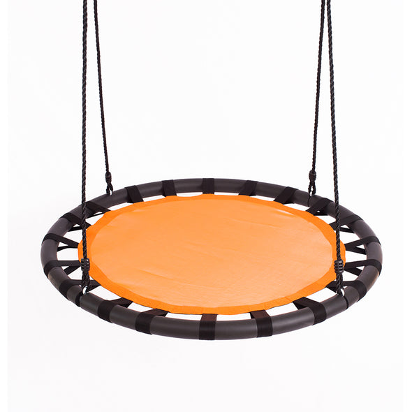 "Clevr 40"" Tree Net Web Saucer Round Teslin Swing, Adjustable 71"" Height Rope,  Orange & Black (CL_CRS805809) - Main Image"